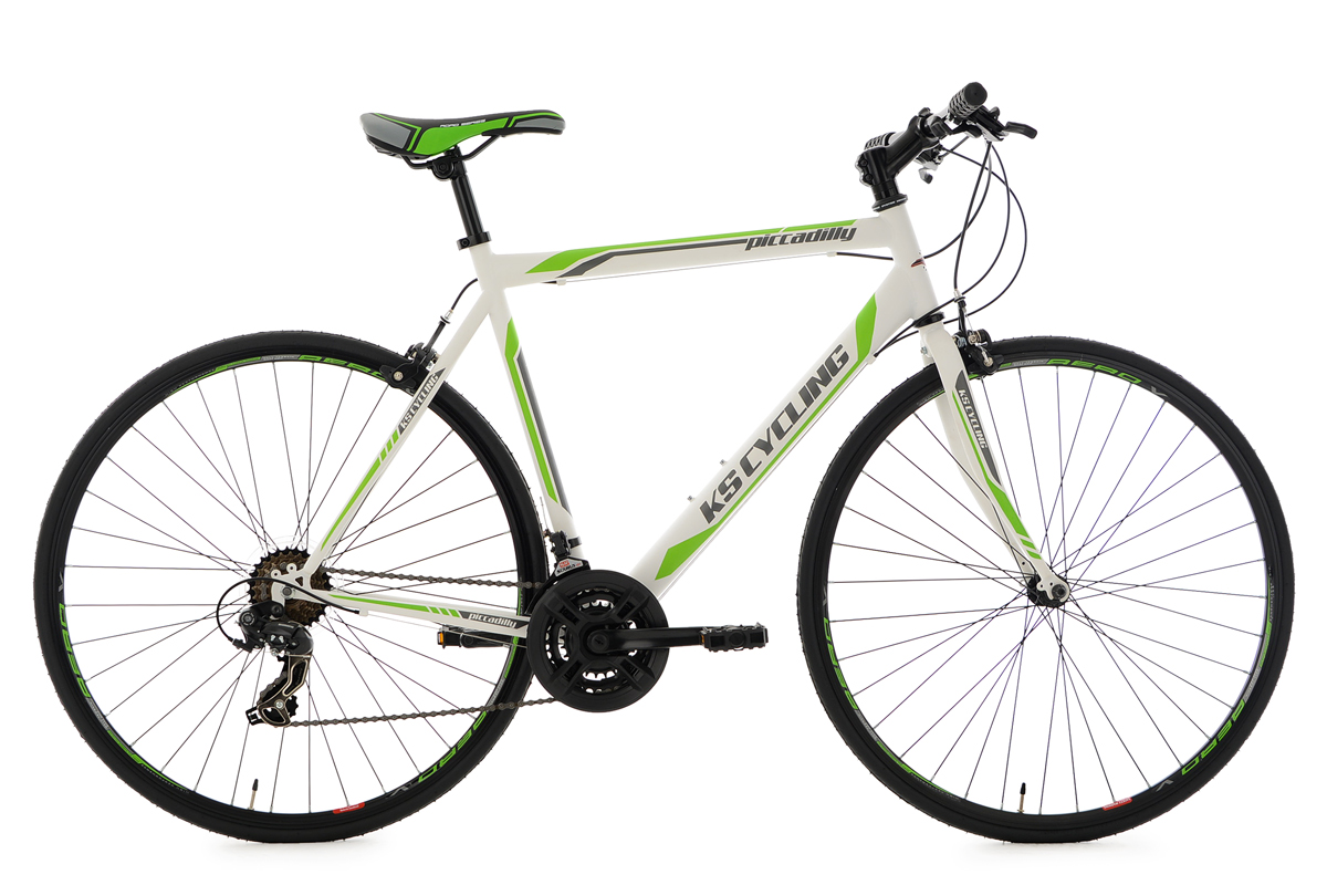 Road Racing Bike Piccadilly 28 21 Gears White Green 59 Cm Ks