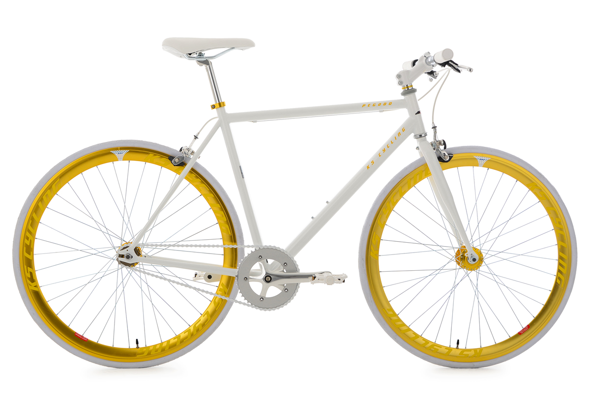 fixie fitnessbike fixed gear pegado weiss gold ks cycling. Black Bedroom Furniture Sets. Home Design Ideas