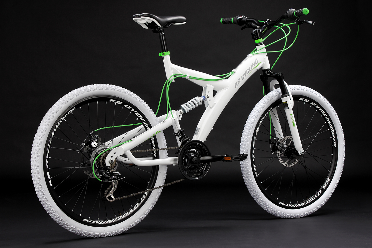 Mountain Bike 26 Full Suspension Topspin White Green 21 Gear