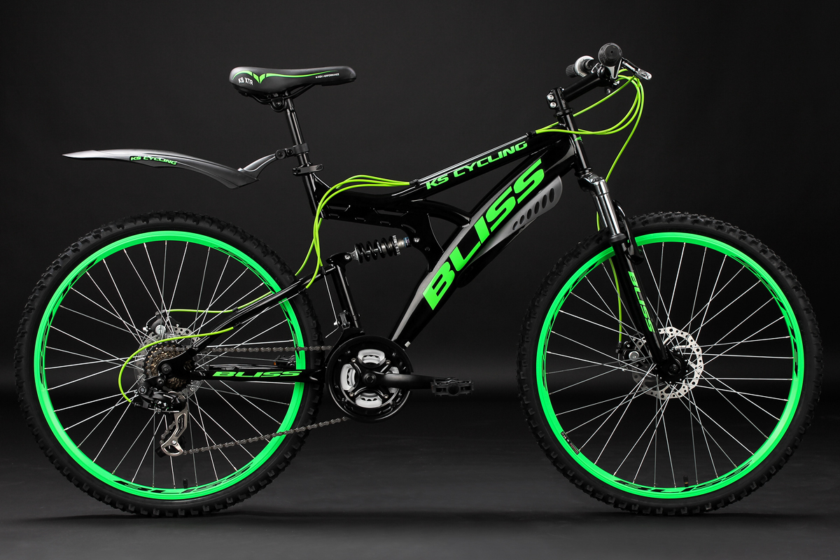 Mountain Bike Full Suspension 26 Bliss Black Green 21 Gears