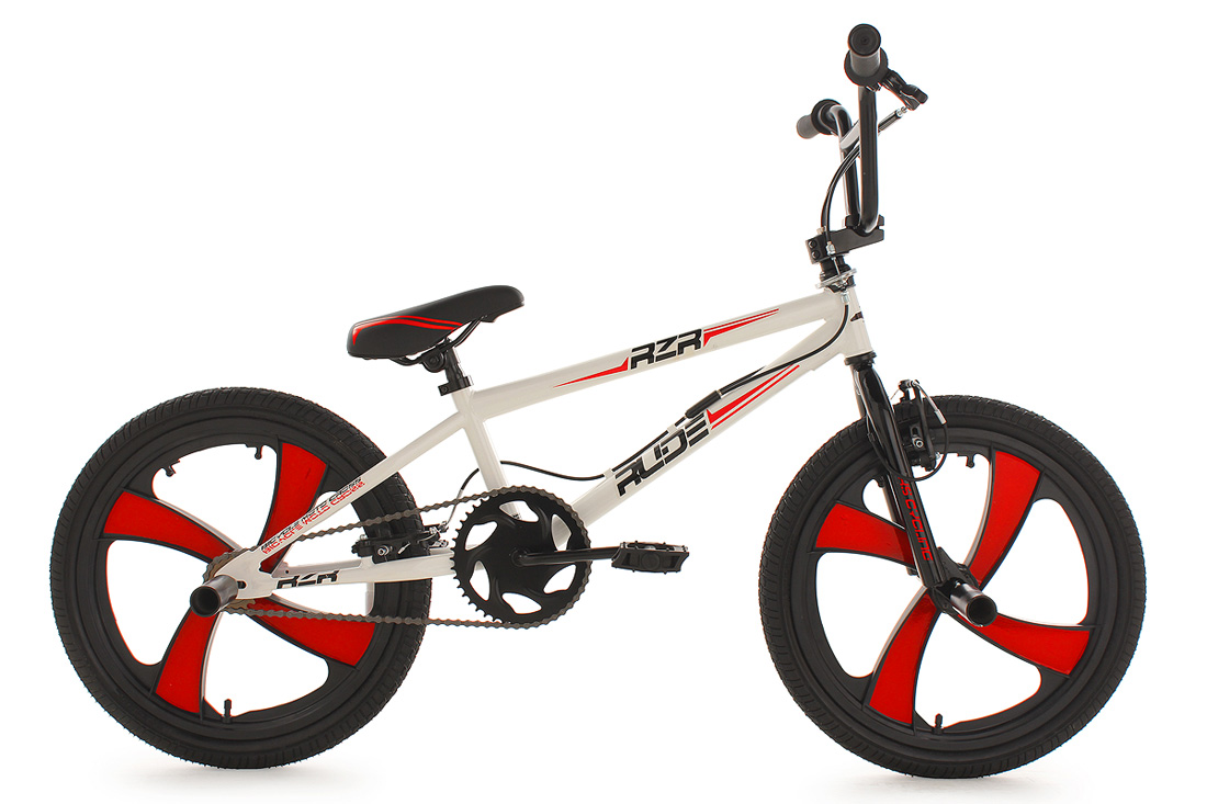 BMX-BIKE-20-FREESTYLE-FAHRRAD-MAG-WHEELS-RUDE-360-ROTOR-WEISS-ROT-4-PEGS-567B