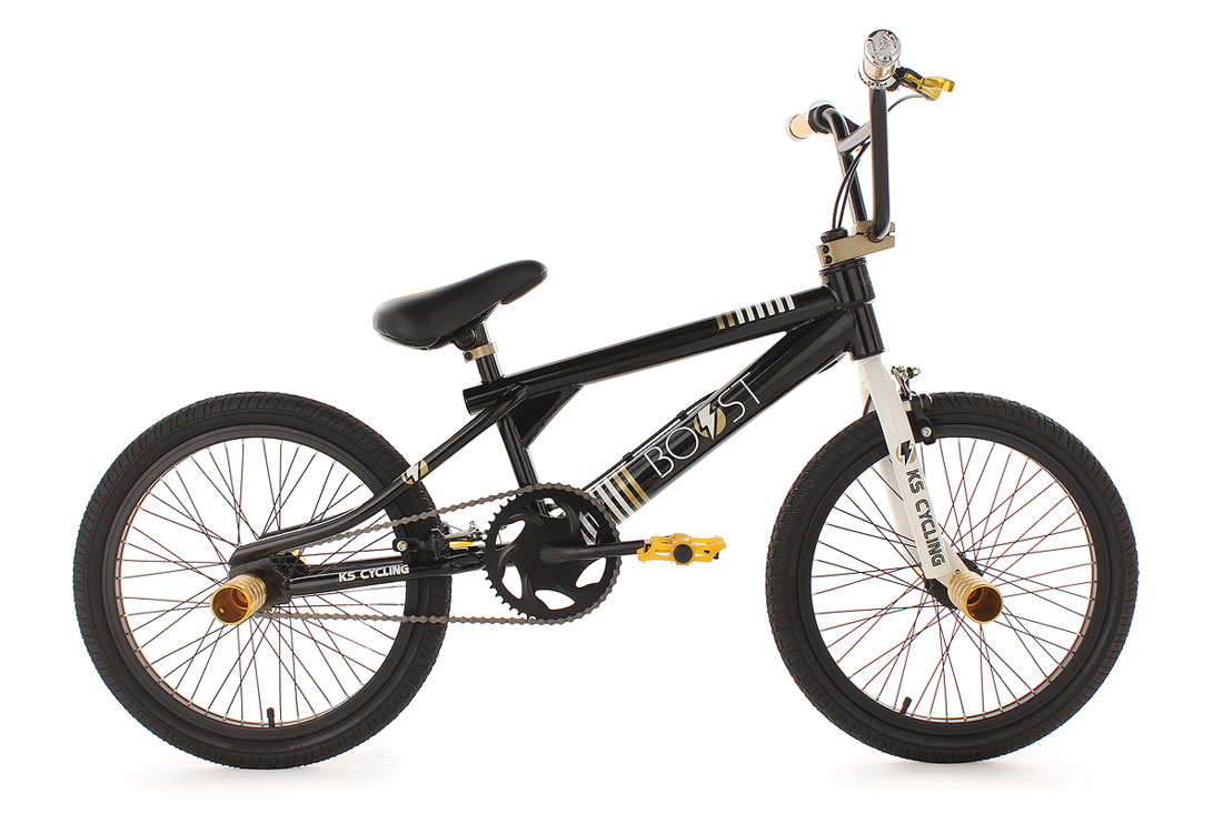 20-BMX-BIKE-FREESTYLE-FAHRRAD-RAD-BOOST-BLACK-GOLD-NEU-579B