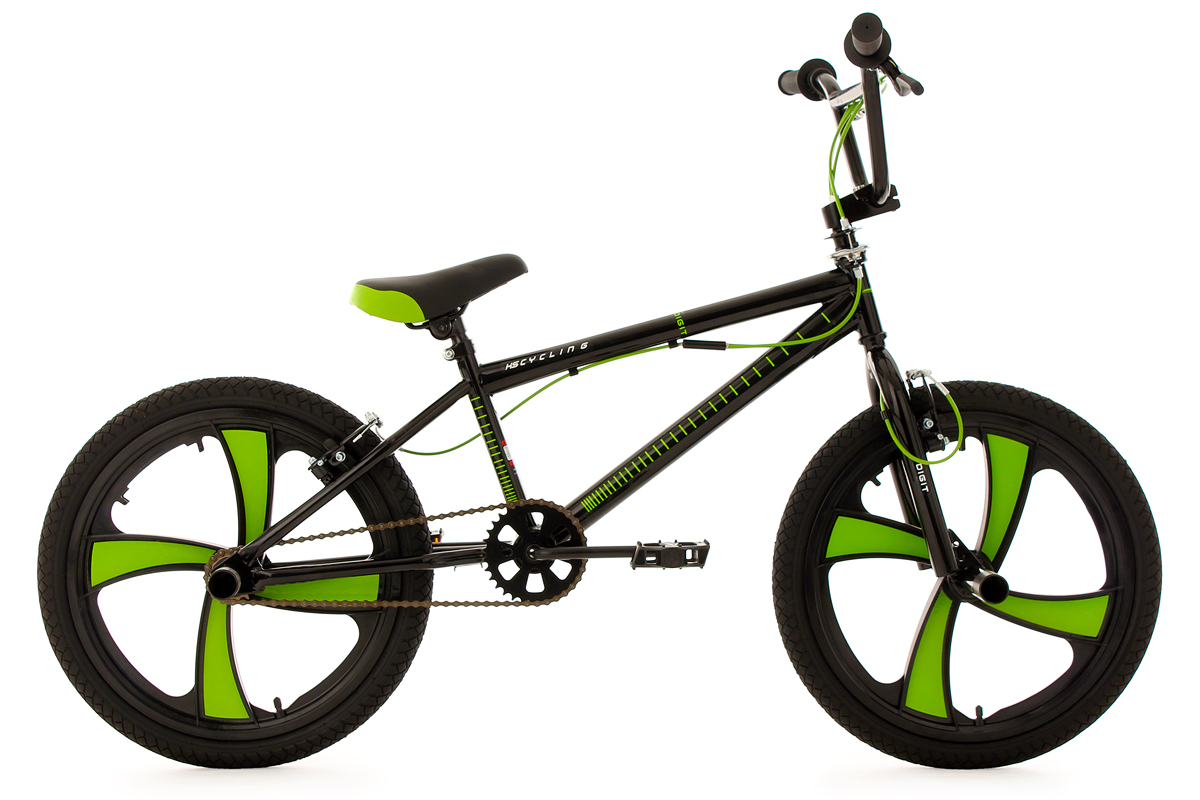 Freestyle Bmx Bike Digit Black Green Mag Wheels 360 Rotor 20