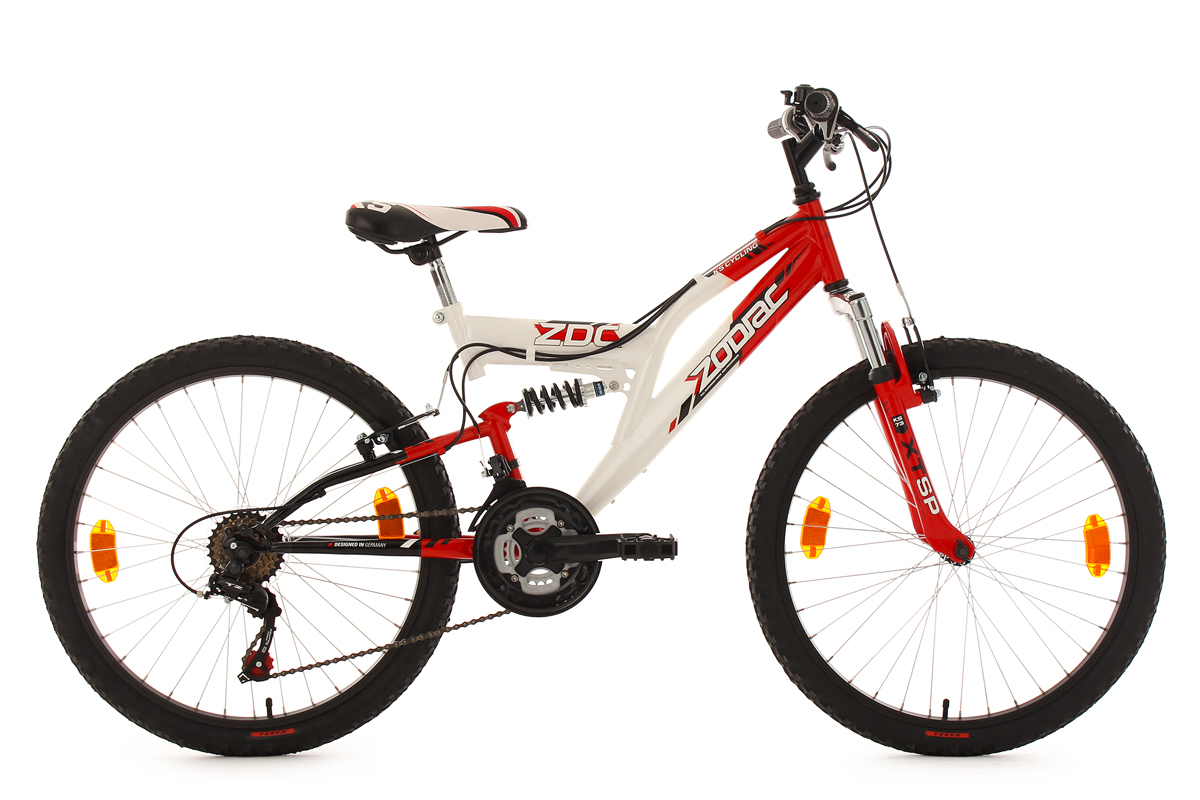 kinderfahrrad mountainbike fully 24 zoll zodiac rot. Black Bedroom Furniture Sets. Home Design Ideas