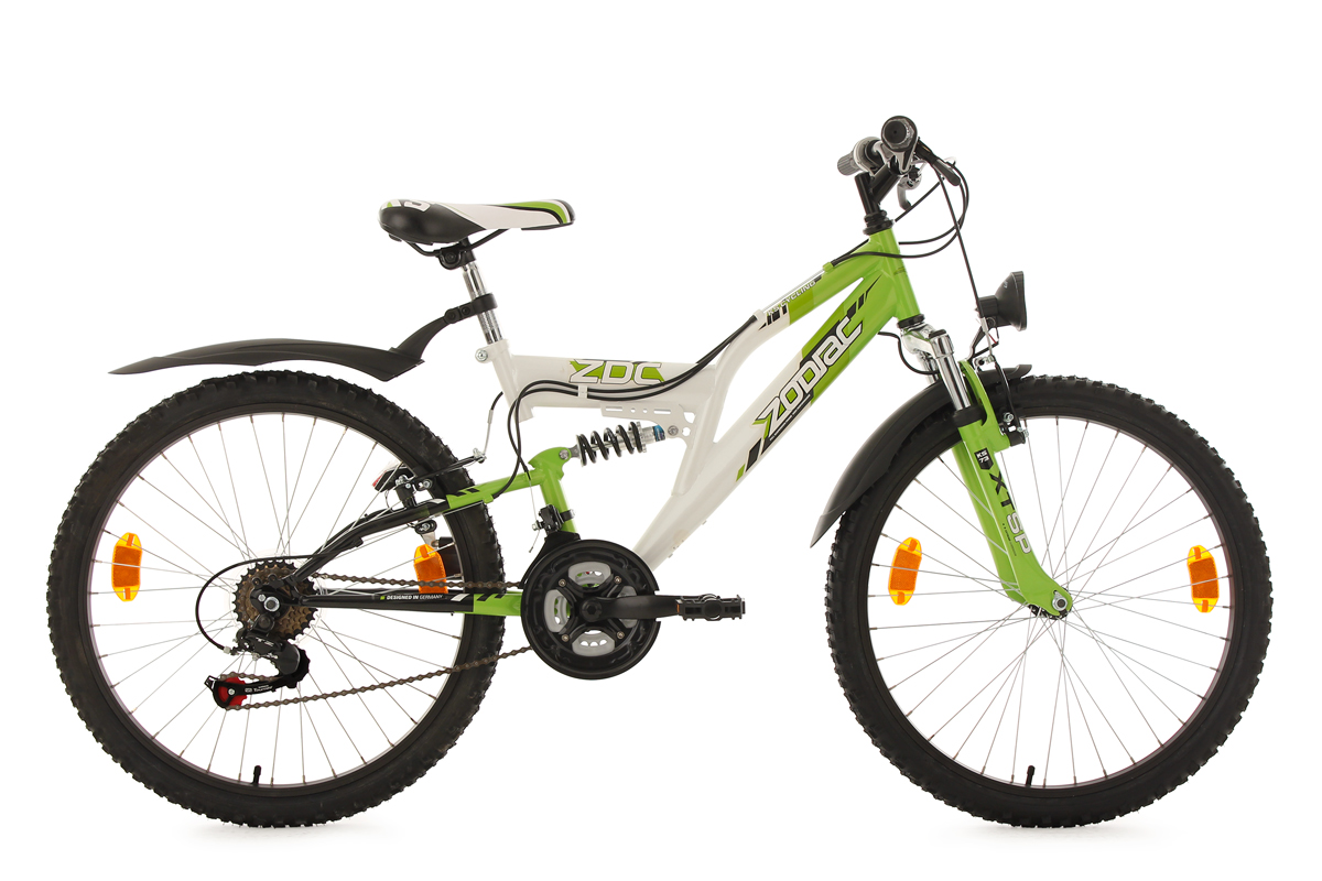 kinderfahrrad mountainbike fully 24 zoll zodiac weiss gr n ks cycling 633k ebay. Black Bedroom Furniture Sets. Home Design Ideas