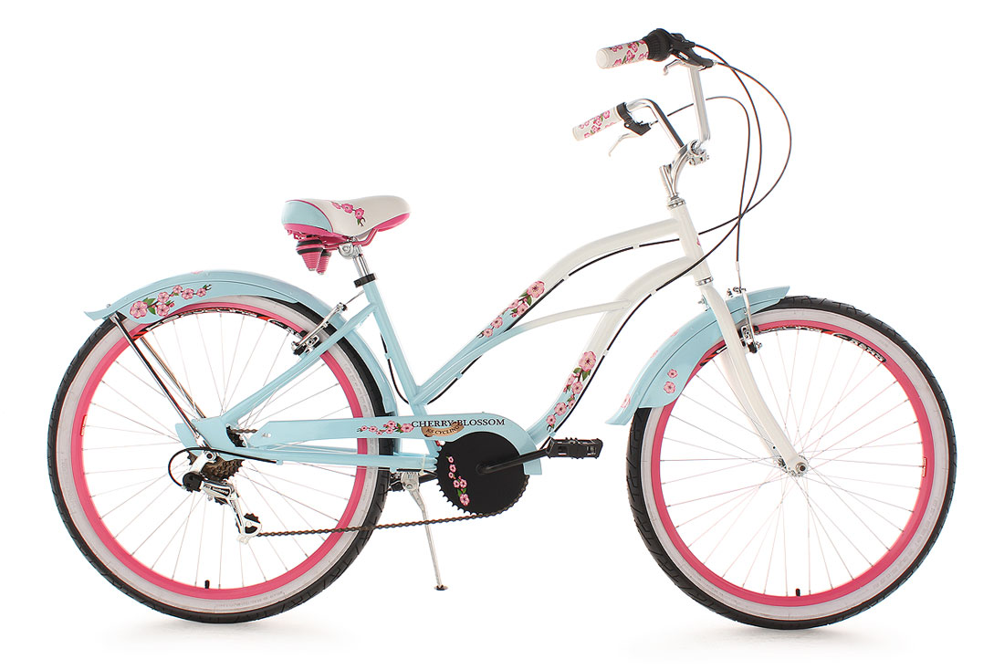 beachcruiser damen 6 gang 26 cherry blossom blau rosa damenrad ks cycling 735b ebay. Black Bedroom Furniture Sets. Home Design Ideas