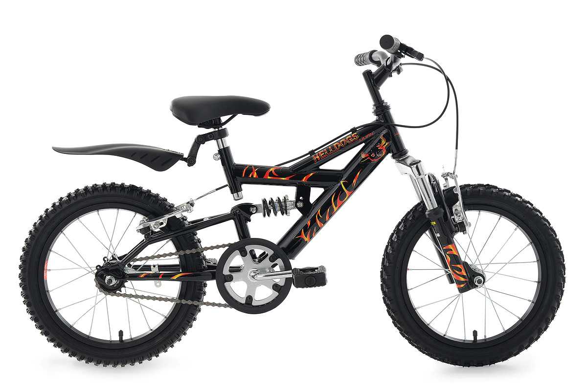 children 39 s bike 16 helldogs black full suspension frame. Black Bedroom Furniture Sets. Home Design Ideas