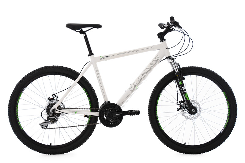 Fully Mountain Bike 26 Xceed Matt White 24 Gears Frame Size 53