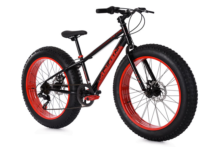 mountain bike 24 fat bike snw2458 black red 6 gears. Black Bedroom Furniture Sets. Home Design Ideas