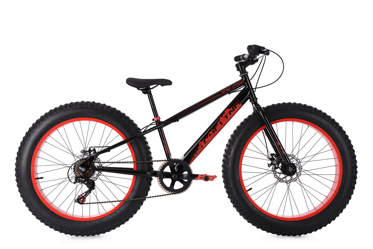 fatbike 24 39 39 mountain bike kinder snw2458 schwarz rot rh. Black Bedroom Furniture Sets. Home Design Ideas