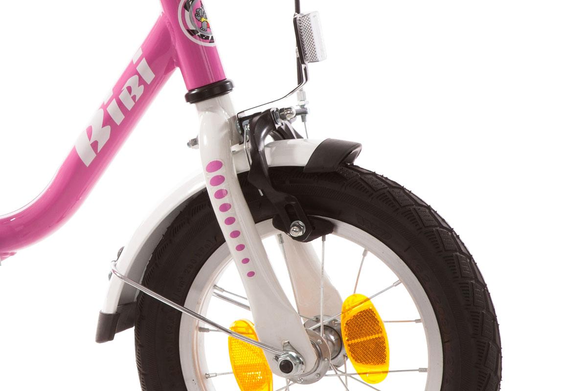Kinderfahrrad 14 Zoll BIBI pink weiß Stützräder und Seitenständer 411-BI-89
