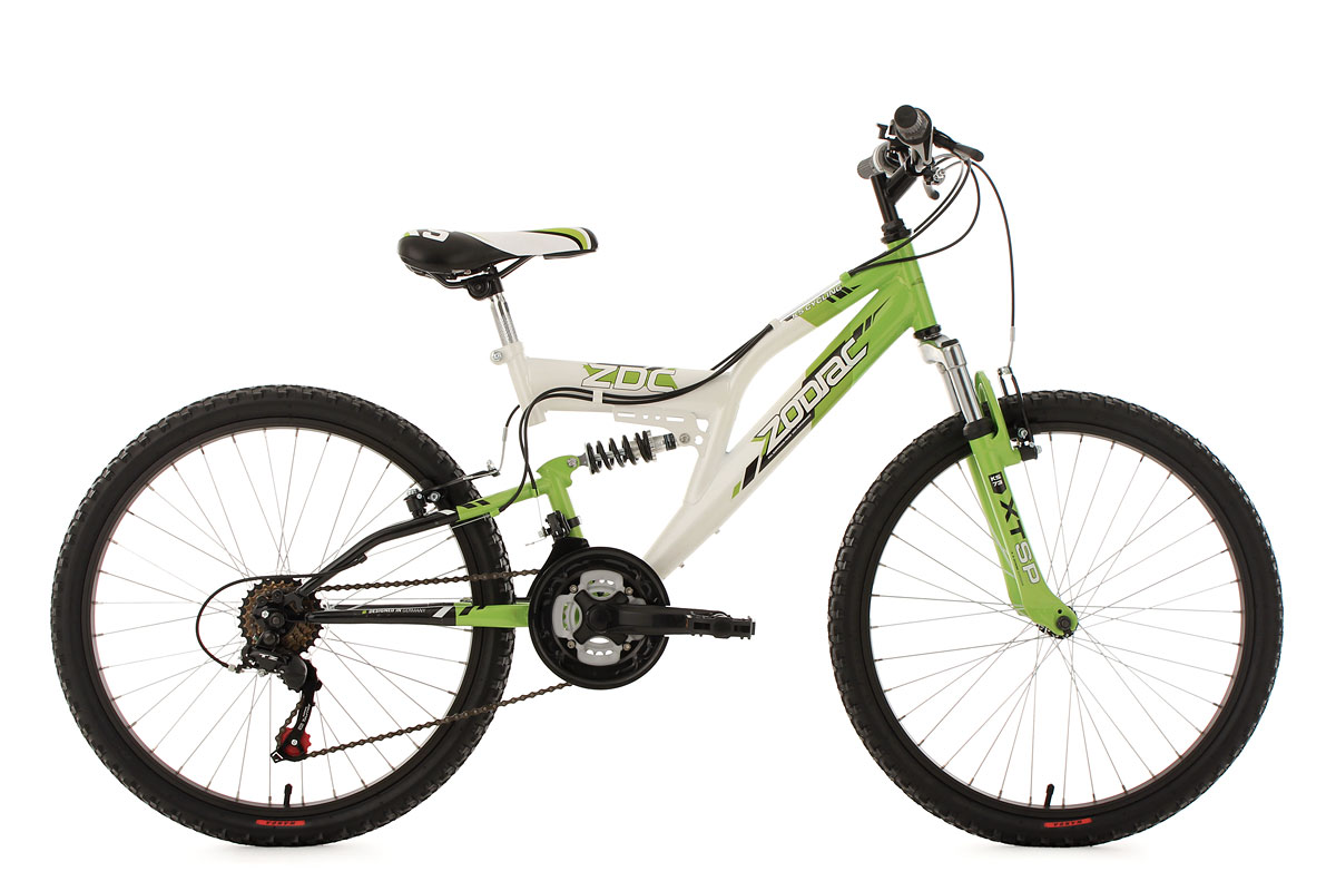 mountainbike fully 24 zoll zodiac gr n weiss kinder mtb 18. Black Bedroom Furniture Sets. Home Design Ideas