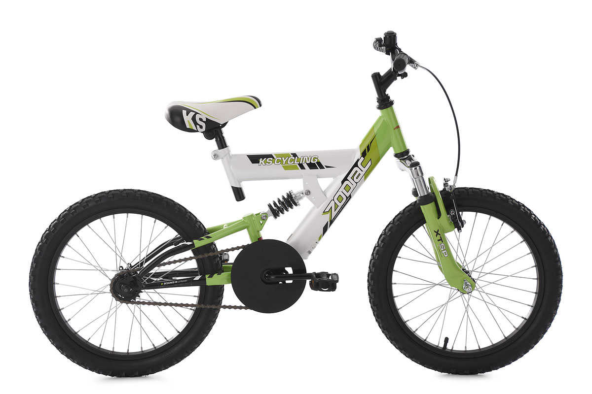 kinderfahrrad mountainbike fully 18 zoll zodiac wei gr n ks cycling 609k ebay. Black Bedroom Furniture Sets. Home Design Ideas