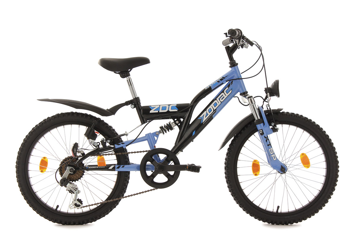 mountainbike fully 20 zoll zodiac blau schwarz kinder mtb. Black Bedroom Furniture Sets. Home Design Ideas